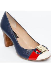 046eb85a20 Privalia. Sapato Bico Arredondado De Grife Tradicional Com Salto Feminino  Azul ...