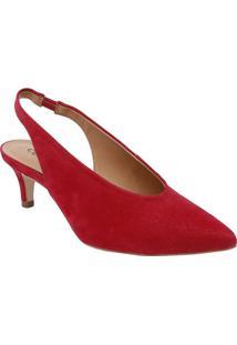 Sapato Chanel Com Pespontos - Vermelho - Salto: 5,5Ccecconello