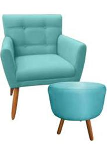 Combo Poltrona Decorativa Onix Mais Puff Redondo Suede Azul Turquesa - Ds Móveis