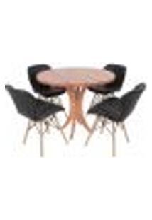 Conjunto Mesa De Jantar Tampo De Madeira 90Cm Com 4 Cadeiras Slim - Preto