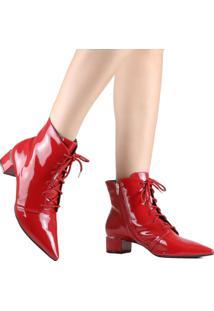 Bota Ankle Boot Zariff Verniz Vermelho