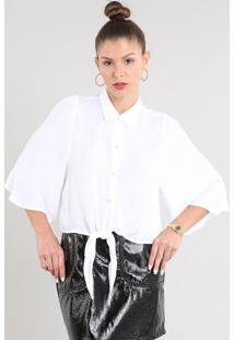 Camisa Feminina Ampla Com Nó Manga Curta Off White