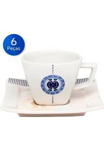 Conjunto De Xícaras De Café Com Pires 6 Peças Nara Focus - Oxford - Branco / Azul