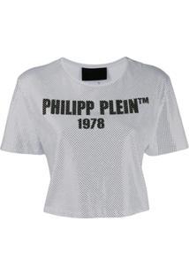 Philipp Plein Blusa Cropped Ss-23 - Branco