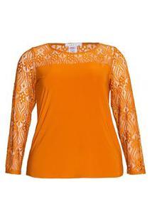 Blusa Recorte Renda Almaria Plus Size Caroll Collection Gola Redonda Amarelo