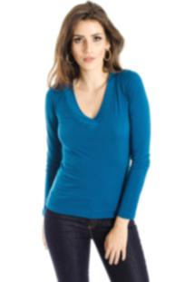Blusa Alphorria Básica Decote V Azul