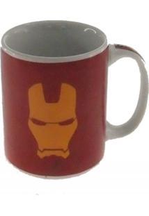 Caneca Decorativa Porcelana Homem De Ferro Vermelha 8X8X8Cm