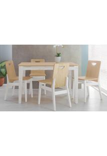 Conjunto De Jantar Com Mesa E 4 Cadeiras Tucupi 120Cm - Acabamento Stain Branco E Natural