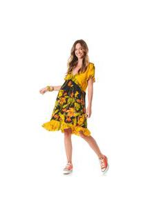 Vestido Curto Yacamim Com Babados Amarelo