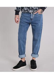 Calça Jeans Masculina Baggy Com Cordão Azul Médio