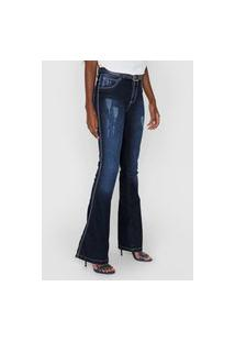 Calça Jeans Grifle Company Flare Estonada Azul