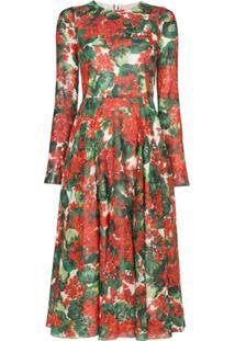 Dolce & Gabbana Vestido Midi Com Estampa Floral - Vermelho