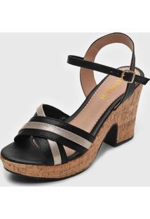 Sandália Amber Cortiça Preto/Dourado
