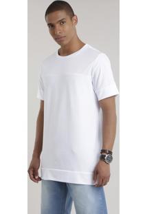 Camiseta Longa Com Recortes Branca