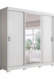 Guarda-Roupa Casal Com Espelho Aliança 3 Pt Branco