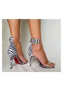 Sandália Estilo Elxs Salto Fino Pelo Zebra E Vinil