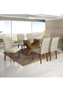 Conjunto De Mesa De Jantar Com 6 Cadeiras Olimpia Jacquard Canela E Off White
