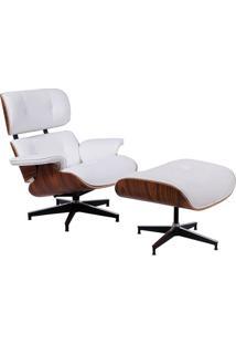 Poltrona Charles Eames Com Puff- Branca & Marrom- 87Or Design