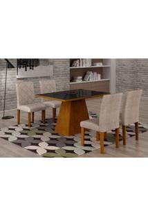 Conjunto De Mesa De Jantar Luna Com Vidro E 4 Cadeiras Ane I Suede Amassado Imbuia E Preto