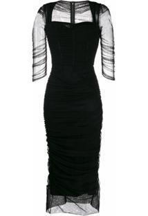 Dolce & Gabbana Vestido Franzido Com Tule - Preto