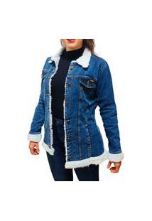 Jaqueta Jeans Feminina Alongada Comprida Maxi Forro De Pele Pelinho Grossa Alta Qualidade Azul Escuro Pelinhos Brancos