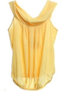 Blusa De Cetim Balone - Feminino-Amarelo
