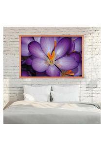 Quadro Love Decor Com Moldura Violetas Rose Metalizado Médio