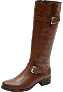 Bota Montaria Mr Shoes Cano Longo Confortavel Couro Brandy - Kanui