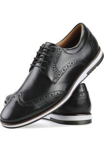 Sapato Casual Oxford Couro Nevano Masculino - Masculino-Preto