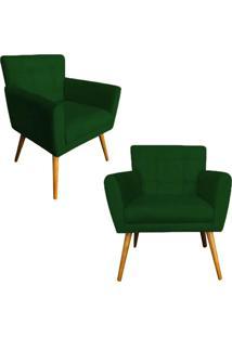 Kit 02 Poltronas Decorativas Onix Suede Verde - Ds Móveis - Kanui