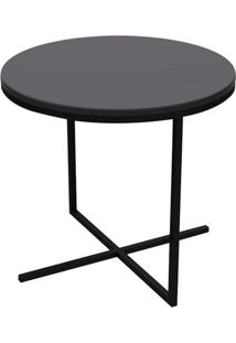 Mesa Lateral Zeta Media Tampo E Base Cor Preto Fosco 50 Cm (Larg) - 50673 Sun House