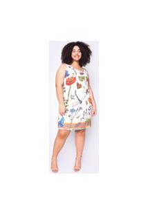 Vestido Almaria Plus Size Ela Linda Curto Estampado Off-White