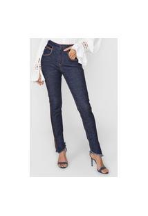 Calça Jeans Lança Perfume Skinny Recorte Azul/Caramelo