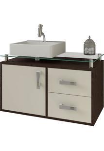 Balcão Para Banheiro Suspenso Com 2 Gavetas E Cuba Evora-Mgm - Cafe / Off White
