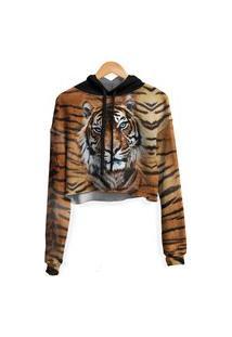 Blusa Cropped Moletom Feminina Over Fame Tigre Md02