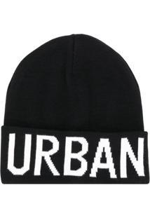 Les Hommes Urban Gorro Com Estampa De Logo - Preto