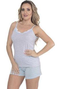 Pijama Alcinha E Short Doll Listrado De Verão Da Victory Feminino - Feminino-Azul Claro