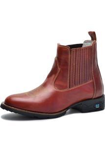 Bota Country Over Boots Bico Redondo Couro Vermelho Escuro