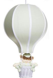 Lustre Balão Grande Com Boneco Bebê Infantil Menino Potinho De Mel Verde
