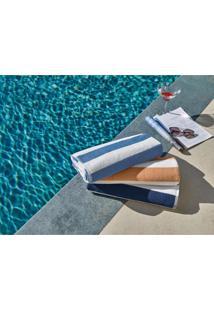 Toalha Para Piscina E Praia Teka Ibiza Listras Azul Claro 450G/M²