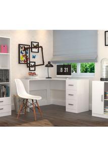 Escrivaninha Em L Com 3 Gavetas Office Plus Appunto - Branco