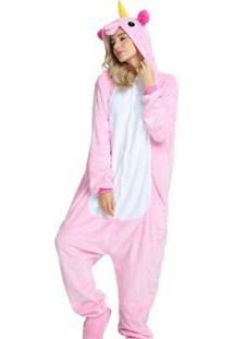 Pijama Rioutlet Macacão Unicórnio Feminino - Feminino-Rosa