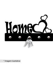 Porta Chaves Home Com Corações- Preto- 11X20Cm- Wevans