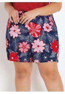 Short Floral Plus Size Com Bolsos Decorativos