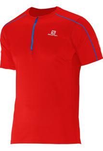 Camiseta Salomon Masculina Action 1/2 Ziper Vermelho Gg
