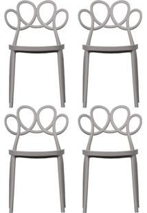 Kit 04 Cadeiras Decorativas Para Cozinha Laço Nude - Gran Belo