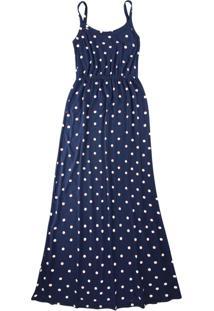 Vestido Azul Marinho Longo Poá Em Viscose