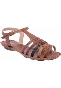 Sandália D&R Shoes Couro Feminina - Feminino-Café