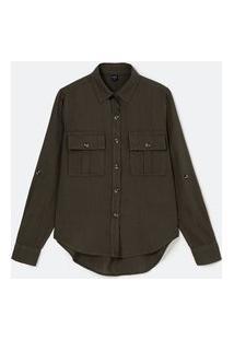 Camisa Manga Longa Com Bolsos Frontais E Botões Matizados   Marfinno   Verde   Gg