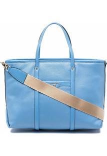 Michael Michael Kors Bolsa Transversal De Couro Com Placa De Logo - Azul